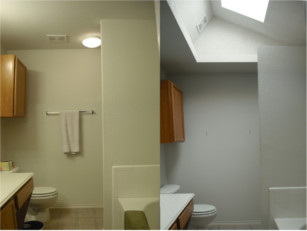 A before and after demonstration of the effect of natural light from a skylight