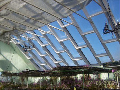 Interior of a greenhouse covered by twinwall panels