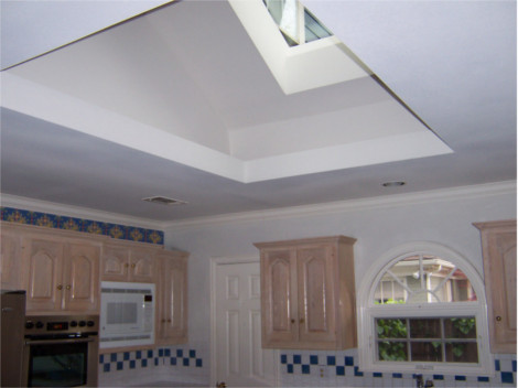 A view of skylight from the kitchen interior