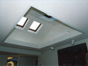 A living room brigthened by skylight